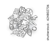 science icon set hand drawing...   Shutterstock .eps vector #624802736