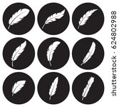 feather icons set. white on a... | Shutterstock .eps vector #624802988