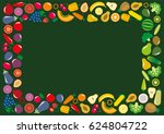set of vegetables and fruits... | Shutterstock . vector #624804722