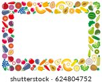 set of vegetables and fruits... | Shutterstock . vector #624804752