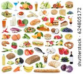 food collection healthy eating... | Shutterstock . vector #624805172