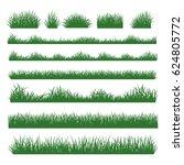 grass field silhouette borders... | Shutterstock . vector #624805772