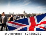 union jack flag and people... | Shutterstock . vector #624806282