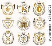 vintage heraldic coat of arms... | Shutterstock . vector #624810725