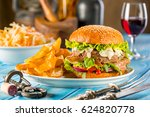an american burger with fried... | Shutterstock . vector #624820778