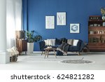blue spacious room with wooden...   Shutterstock . vector #624821282