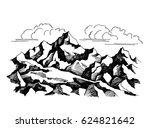 rocks  sketch. the tops of the... | Shutterstock . vector #624821642