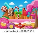 scene with icecream and... | Shutterstock .eps vector #624821912