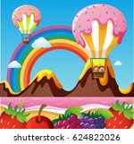 fantacy land with candy... | Shutterstock .eps vector #624822026