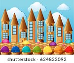 candy towers and icecream with... | Shutterstock .eps vector #624822092