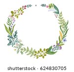 hand painted watercolor wreath | Shutterstock . vector #624830705