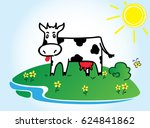 funny black and white cow.    Shutterstock . vector #624841862