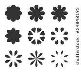 set of black flower design... | Shutterstock .eps vector #624848192