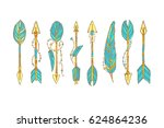 vector doodle bow arrow... | Shutterstock .eps vector #624864236
