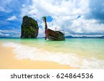 local tour boat on the beach in ...   Shutterstock . vector #624864536