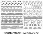 set of wavy curved and... | Shutterstock .eps vector #624869972