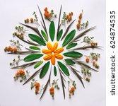 bohemian flower mandala on the... | Shutterstock . vector #624874535