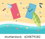 summer sand beach with blue and ... | Shutterstock .eps vector #624879182