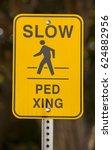 slow pedestrian crossing yellow ... | Shutterstock . vector #624882956