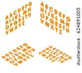 font isometric set 3d capital... | Shutterstock .eps vector #624891005