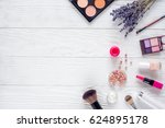 set of cosmetics for women with ... | Shutterstock . vector #624895178