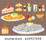 various meat canape snacks... | Shutterstock .eps vector #624927698