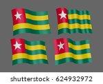 3d waving flag of togo. vector... | Shutterstock .eps vector #624932972