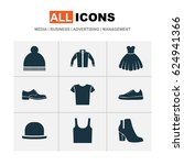 clothes icons set. collection... | Shutterstock .eps vector #624941366