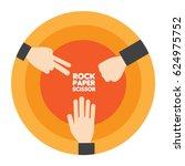 rock paper scissor with orange...   Shutterstock .eps vector #624975752