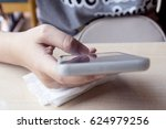 woman using smart phone for... | Shutterstock . vector #624979256