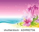 beach sea poster landscape ... | Shutterstock .eps vector #624982736