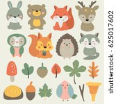 vector forest set with cute... | Shutterstock .eps vector #625017602