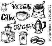 set of coffee hand drawn icons. ... | Shutterstock .eps vector #625018712
