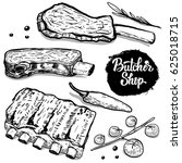 butcher shop. set of hand drawn ... | Shutterstock .eps vector #625018715
