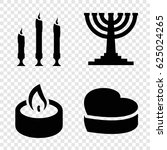 candle icons set. set of 4... | Shutterstock .eps vector #625024265