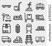 freight icons set. set of 16... | Shutterstock .eps vector #625030322
