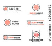 set of vector logos for sushi.... | Shutterstock .eps vector #625066952