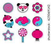 set of asiatic trendy patches | Shutterstock .eps vector #625069142