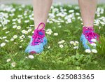 feet of woman athlete in the... | Shutterstock . vector #625083365