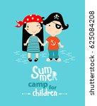 "poster ""summer camp for... | Shutterstock .eps vector #625084208"