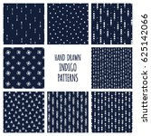 set of hand drawn indigo blue... | Shutterstock .eps vector #625142066
