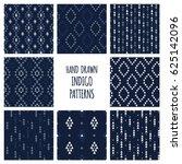 set of hand drawn indigo blue... | Shutterstock .eps vector #625142096