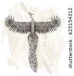 flying peafowl.tattoo art....   Shutterstock .eps vector #625154312