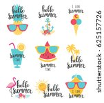 summer lettering set with... | Shutterstock .eps vector #625157726
