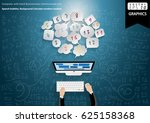 computer with hand businessman ... | Shutterstock .eps vector #625158368