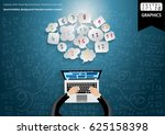 laptop with hand businessman... | Shutterstock .eps vector #625158398