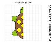 turtle copy and coloring the... | Shutterstock .eps vector #625179506
