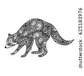 raccoon. black white hand drawn ... | Shutterstock .eps vector #625183976