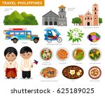 travel to philippines. set of... | Shutterstock .eps vector #625189025