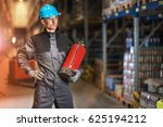caucasian warehouse worker with ... | Shutterstock . vector #625194212
